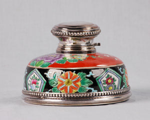 Qing Porcelain & Silver Inkwell, China/France, c.1875