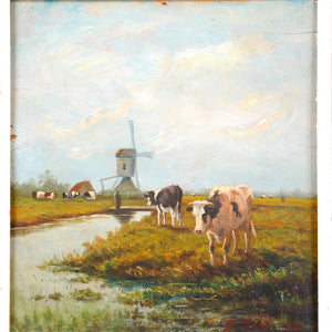Oil painting on wooden panel, signed Jacob Maris, Dutch, c.1879