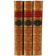 Load image into Gallery viewer, Three Volume Full Leather books of Macaulay's Essays