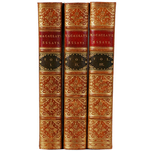 Three Volume Full Leather books of Macaulay's Essays