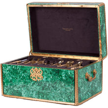 Load image into Gallery viewer, Tiffany Chrysanthemum Gold Vermeil Flatware in Malachite Case