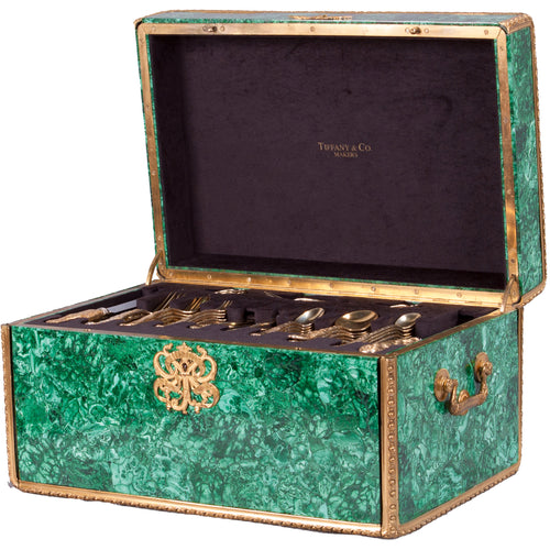 Tiffany Chrysanthemum Gold Vermeil Flatware in Malachite Case