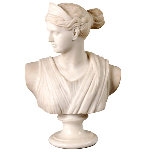 Antique White Marble Bust of Diana, Artist Signed, Italy