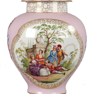 Augustus Rex Porcelain Ginger Jar by Helena Wolfsohn of Dresden Germany.  c. 1880