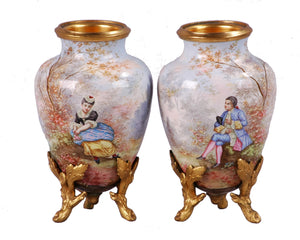 Miniature Limoges Enamel on Copper Vases