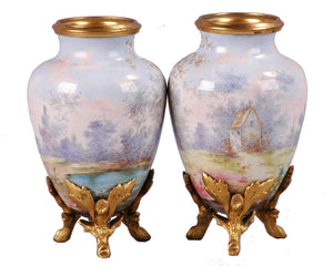Pair Limoges Enamel Miniature Vases, France, c.1860