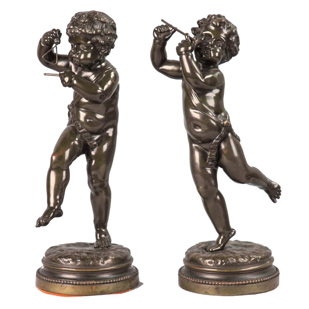Antique Pair of Bronze Putti Signed Clodion, France
