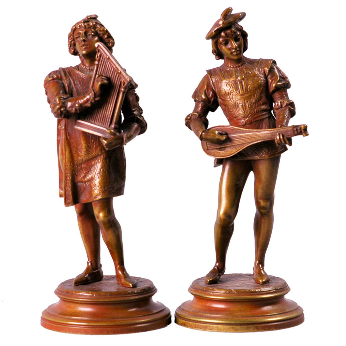 Antique Pair of Bronze Musicians signed Guillot, France
