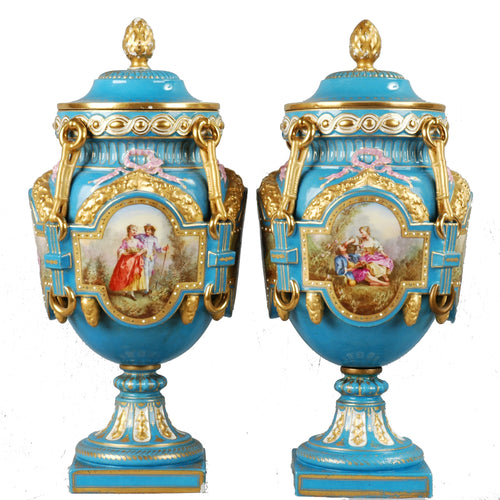 Pair Sevres style covered urns 19th century