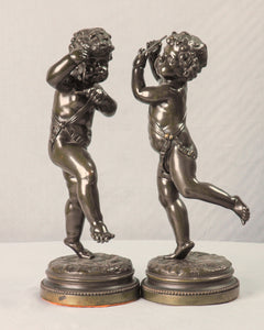 Pair of Bronze Putti Signed Clodion, France, c.1875