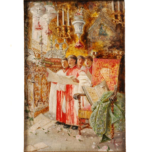 "Oil painting by Antonio Rivas on wooden panel ""Choir Boys"" in original frame, Signed, Spain, c.1870"