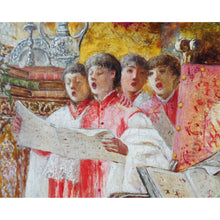 "Load image into Gallery viewer, Oil painting by Antonio Rivas on wooden panel ""Choir Boys"" in original frame, Signed, Spain, c.1870"