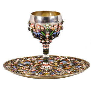 Russian Enamel Silver Cup Saucer