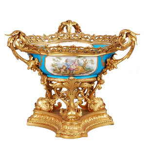 Sèvres centerpiece bowl in ormolu mounts, 19th century