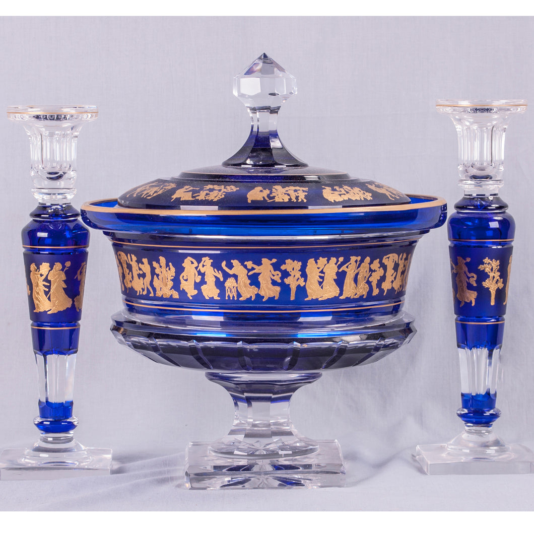 Val St. Lambert Covered Bowl and Candlesticks