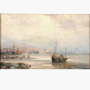 Oil on canvas, Harbor Scene, signed Thornley, England, c.1880