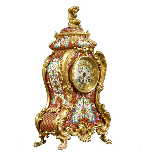 Tiffany champleve mantle clock. France, c.1900