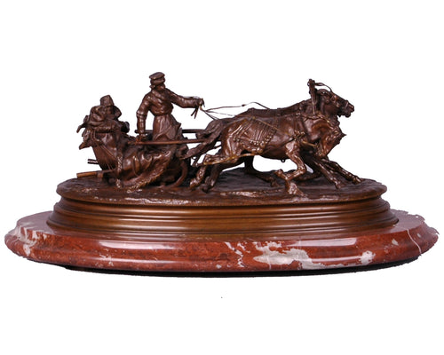 Russian Bronze Troika Sculpture