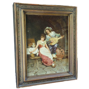 Oil Painting on canvas, signed F. Vinea, Firenze.  Italy, c.1870