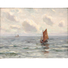 "Load image into Gallery viewer, Oil on canvas by W. L. Wyllie, signed, ""Off Southend"". England, c.1875"