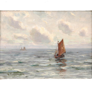 "Oil on canvas by W. L. Wyllie, signed, ""Off Southend"". England, c.1875"