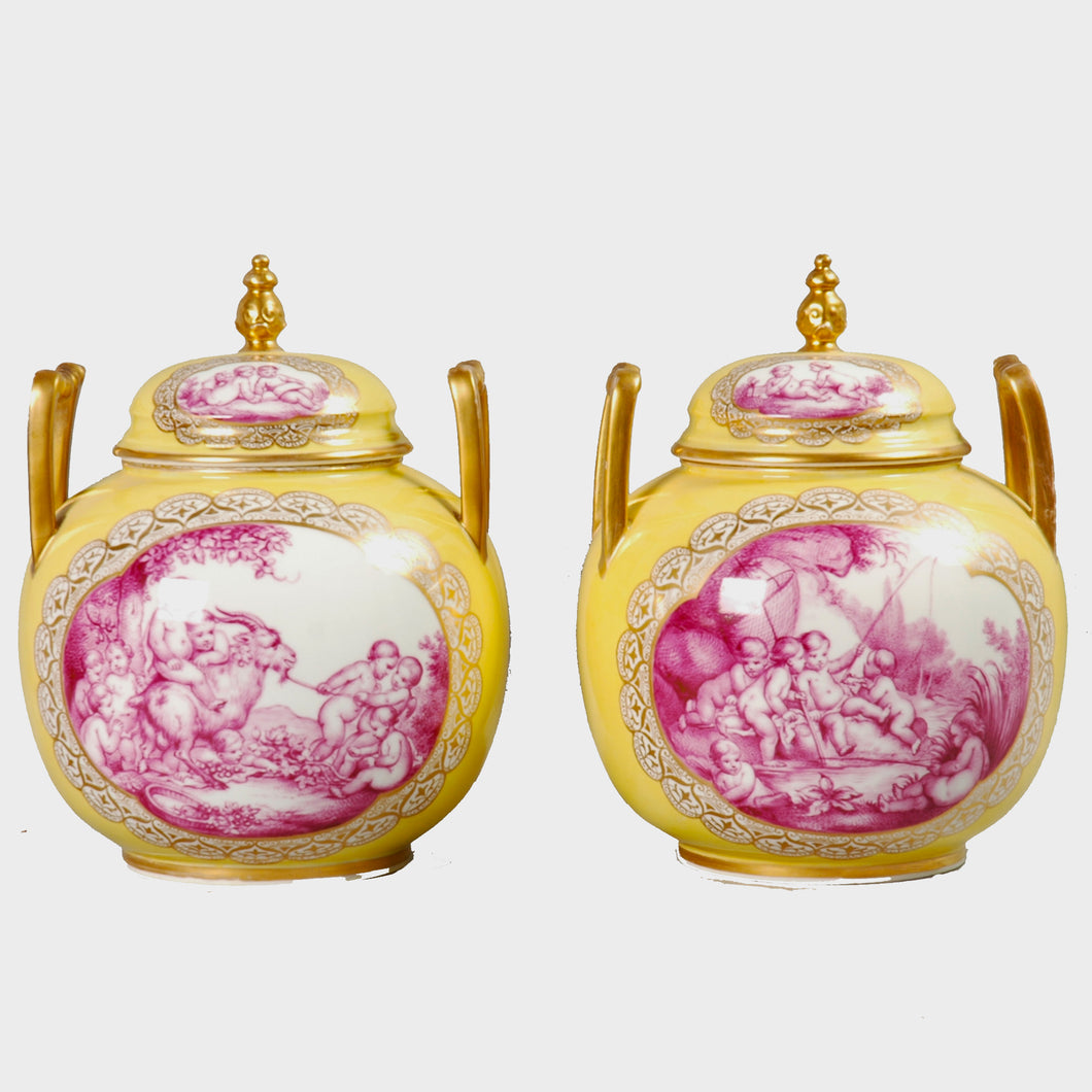 Pair Augustus Rex Covered Vases, Germany, c.1880