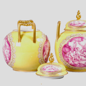 Pair of Rare Augustus Rex Porcelain Covered Vases, Germany, c.1880