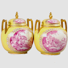 Load image into Gallery viewer, Pair of Rare Augustus Rex Porcelain Covered Vases, Germany, c.1880