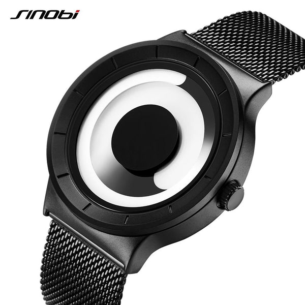 Image result for Unique Vortex Concept Watch Men High quality 316L Stainless Steel Milan Band Modern Trend Sport Black Wrist Watches For Male Hot