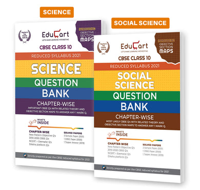 Educart Social Science and Science Class 10 Question Bank Combo Pack For 2021 Exam (With Reduced Syllabus)