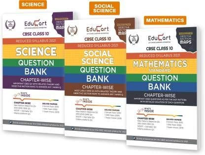 Educart Social Science,Science And Maths Class 10 Question Bank Combo Pack For 2021 Exam (With Reduced Syllabus) (Set Of 3 Books) (QB03)