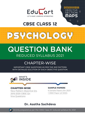 Educart Psychology Question Bank CBSE CLASS 12 (REDUCED SYLLABUS) FOR 2021