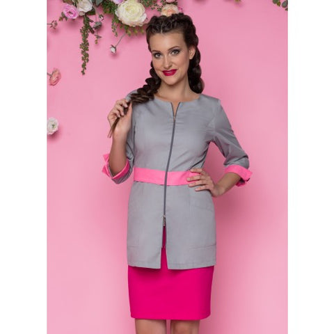 Beautician Uniform Grey & Pink NR53