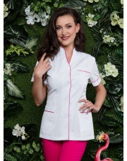 Beautician Uniform White with Fuchsias finish NR27