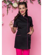 Beautician Uniform Black with Fuchsias finish NR25