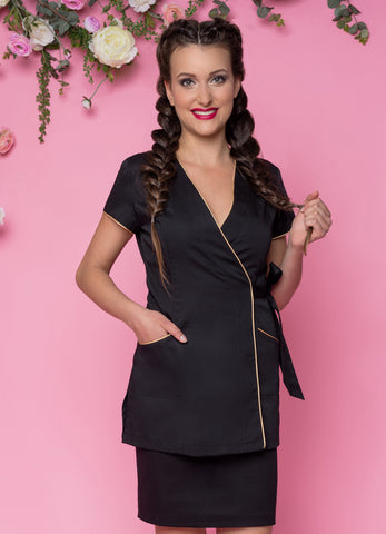 Beautician Uniform Black with Fuchsias  finish NR65