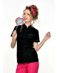 Beautician Uniform Black with Fuchsias finish Fashion NR12