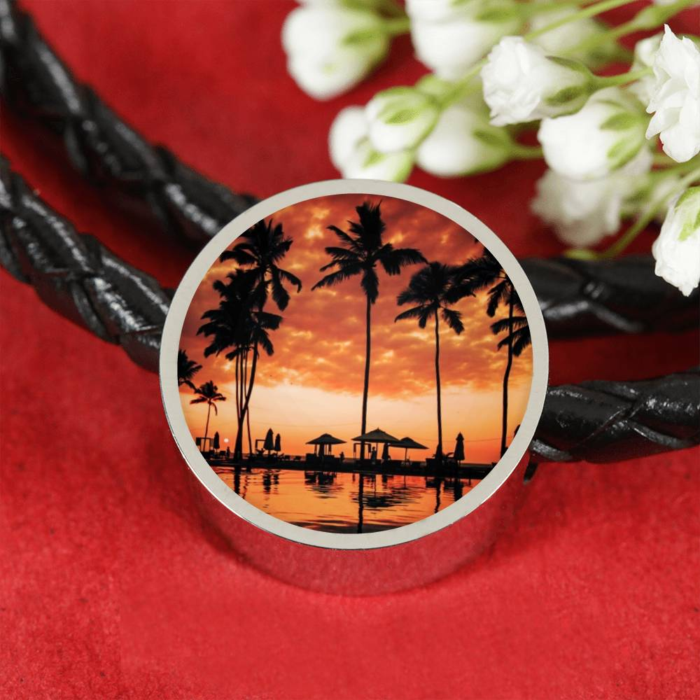 Palm Sunset Leather Bracelet