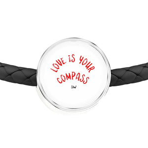 Love is Your Compass Leather Bracelet