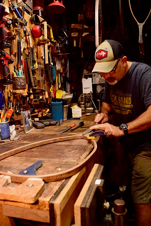 """Says Madrigal of the building process, """"I always start with a plan, but each net takes on a life of its own as I bring out details of the wood and the design comes together."""""""