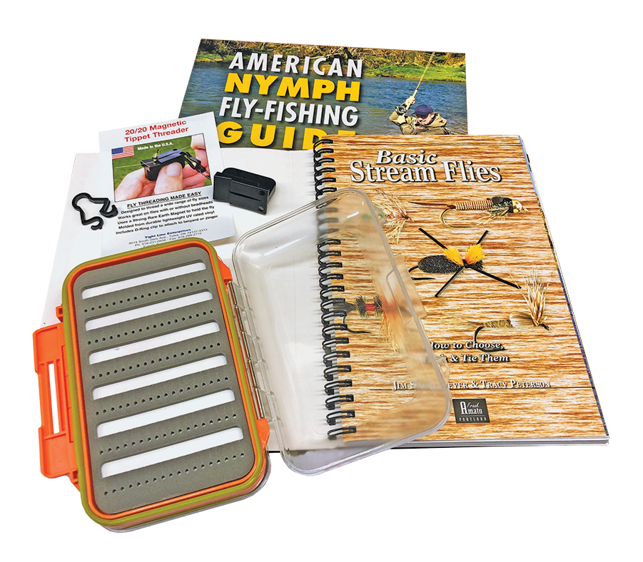 2 Trout Fly Fishing Books, Tippet Threader & Latched Fly Box