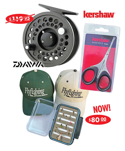 Ultimate Fly Fishing Package! Reel, Scissors, 12 Flies, Fly Box, Hat & 1 yr. Subsciption