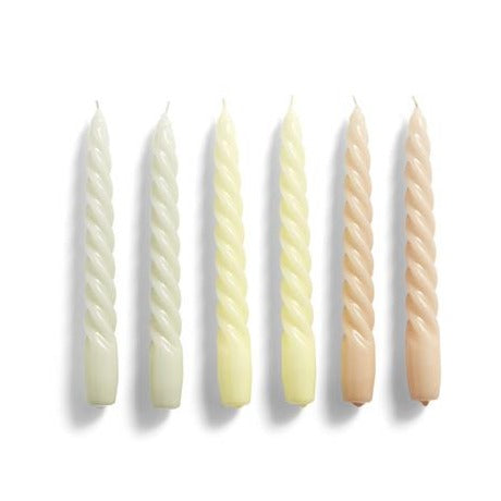 Velas Twist Set de 6 Grey, Beige, Citrus peach