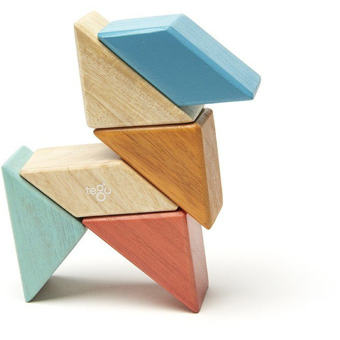 Tegu Magnetic Wooden Blocks Pocket 6 piezas Sunset