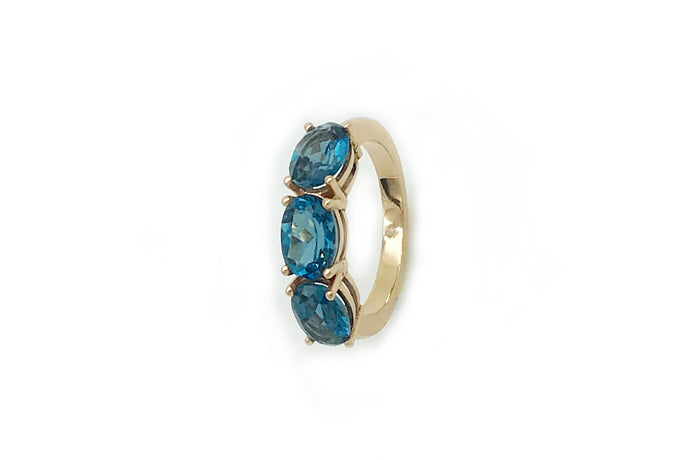 Anillo Tres Topacios Azul London Blue