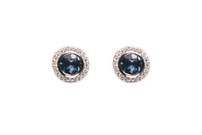 Pendientes Solitario Topacio London Blue