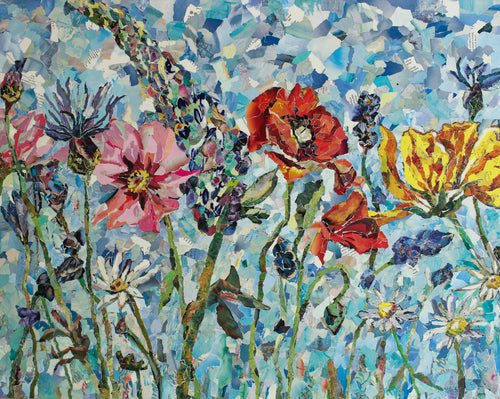 spring flowers art collage