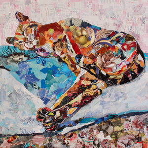 snuggly sleeping cat collage art
