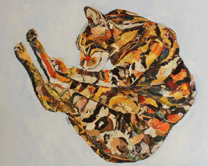 sleeping cat art collage