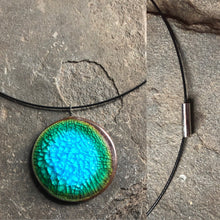 Load image into Gallery viewer, handmade ceramic pendant cable necklace with magnetic clasp caribbean aqua blue